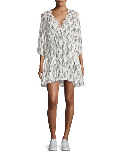 Evelyn V-Neck Tiered Floral-Print Silk Dress