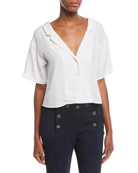 Arto V-Neck Button-Front Silk Top