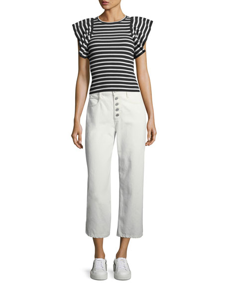 Montag Cropped Wide-Leg Cotton Pants