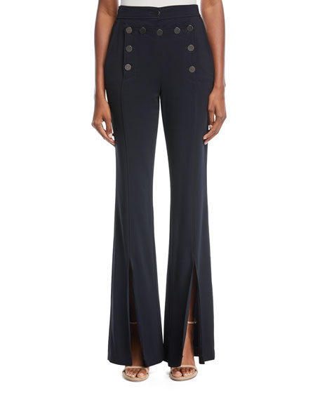 Gavin Flared-Leg Split-Hem Crepe Pants