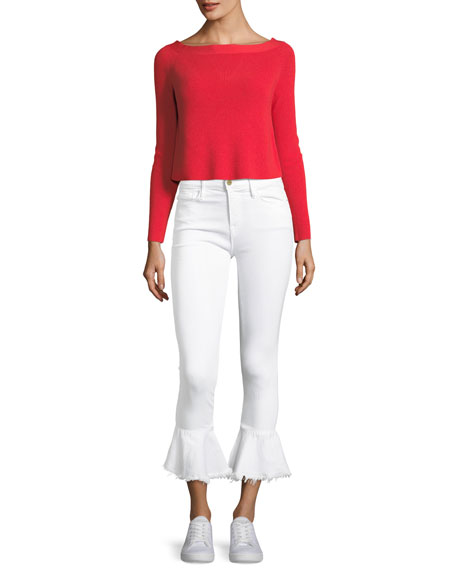 Boat-Neck Cropped Rib-Knit Sweater