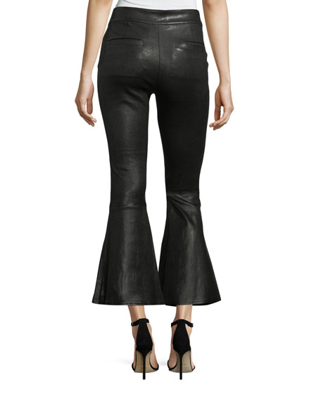 Flounce-Hem Pull-On Fitted Leather Pants