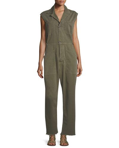 Le Service Sleeveless Button-Front Wide-Leg Jumpsuit