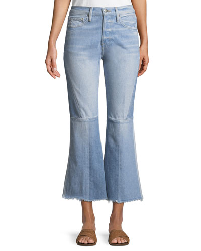 Le Panel Block Cropped Flare-Leg Jeans