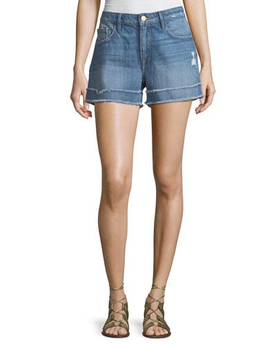 Le Grand Garcon Frayed Cuff Denim Shorts