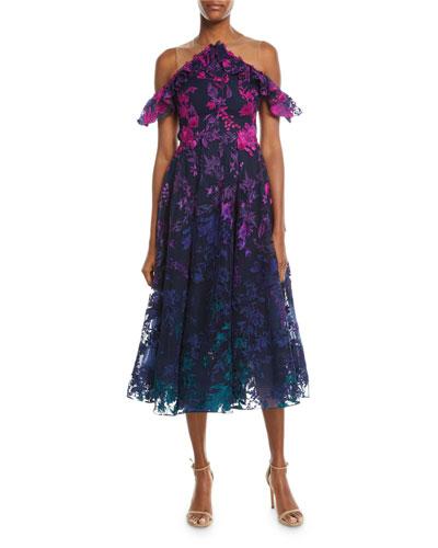 Ombré Floral Cold-Shoulder Embroidered Cocktail Dress
