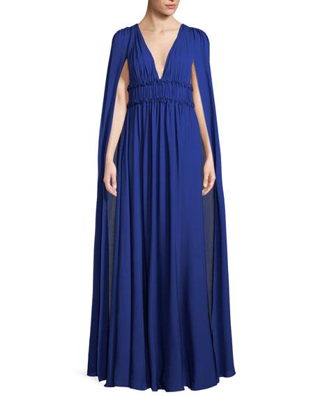 50dd945c Marchesa Notte Silk Georgette V-Neck Cape Gown