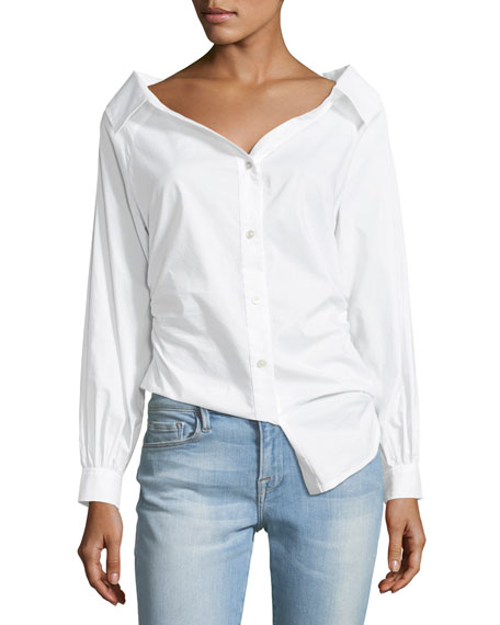 FRAME Bateau-Neck Button-Front Cinched Poplin Oxford Shirt