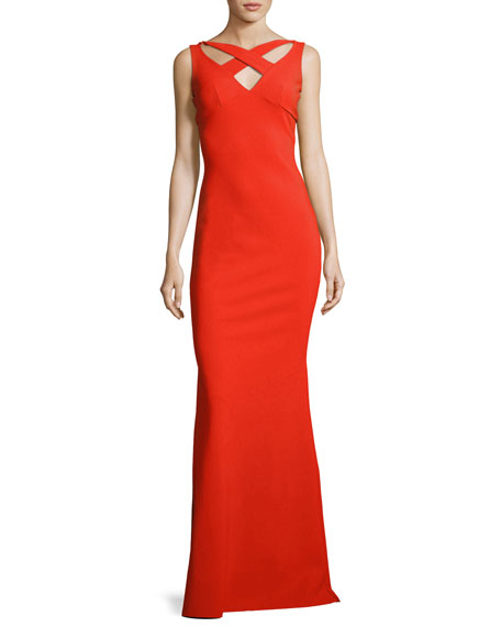 Clori Sleeveless Cross-Front Gown, Red