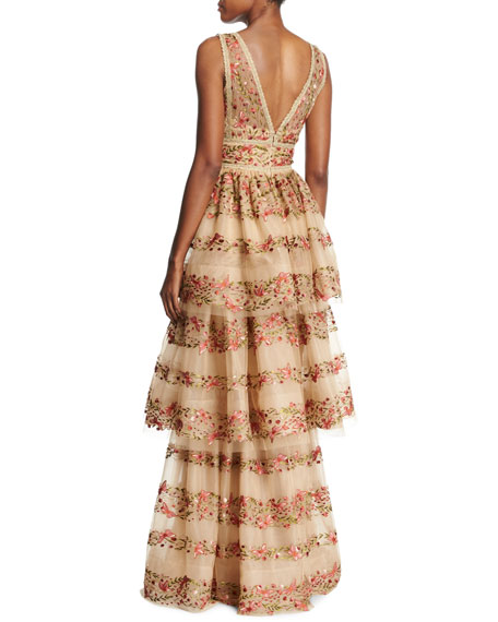 a2b73d639b11 Marchesa Notte Sleeveless Floral-Embroidered V-Neck Gown