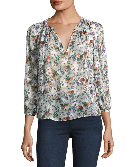 08ee3a3bcbfe Rebecca Taylor Long-Sleeve Floral-Print Silk Top