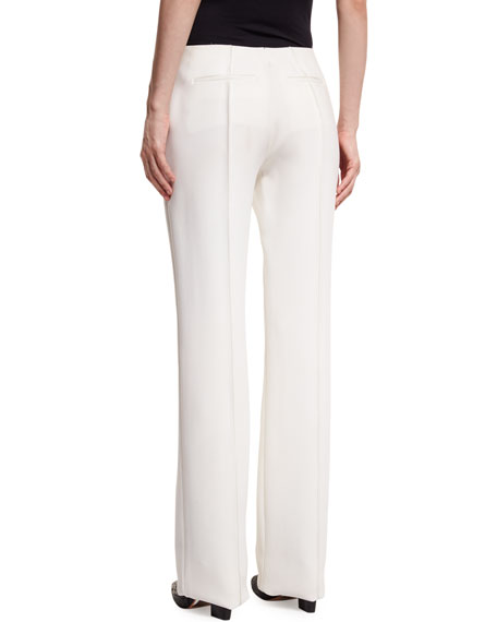 Pleated-Front Wide-Leg Crepe Pants