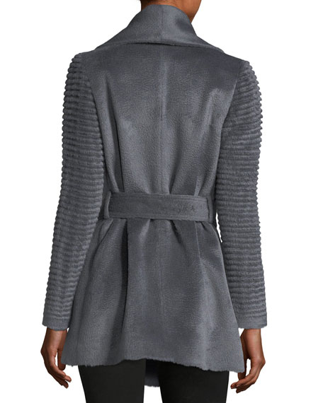 Ribbed-Sleeves Shawl-Collar Wrap Alpaca Coat