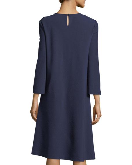 Square-Neck Punto Milano Flared Dress