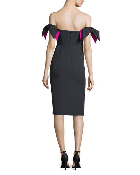Brit Off-the-Shoulder Italian Cady Cocktail Sheath Dress