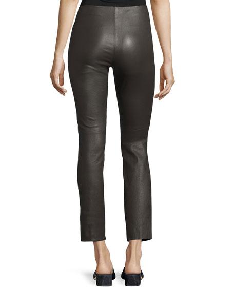 Leather Split Hem Cropped Pants