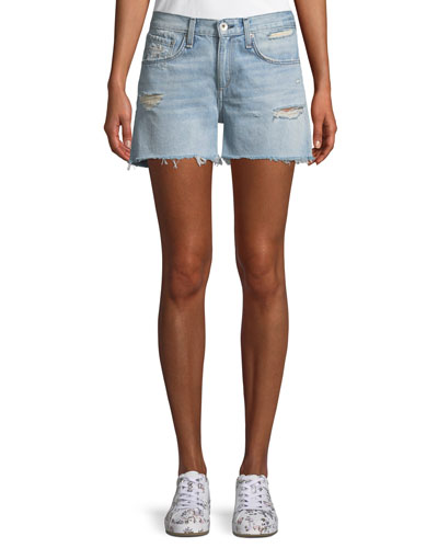 Denim Boy Shorts w/ Raw-Edge Hem