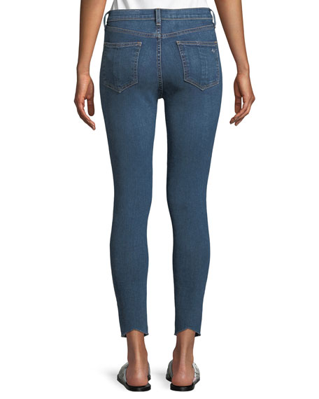 High-Rise Skinny Ankle Jeans w/ Pintucking