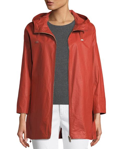 Waxed Cotton A-Line Raincoat w/ Hood