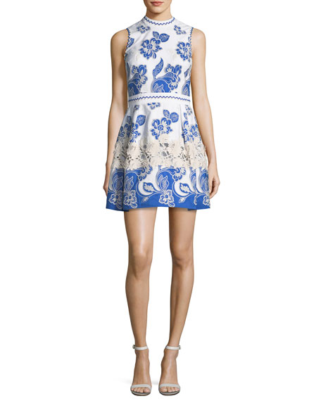 Farah High-Neck Sleeveless Embroidered Dress