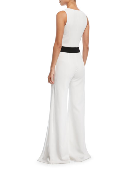 Moe V-Neck Button-Front Sleeveless Wide-Leg Crepe Jumpsuit