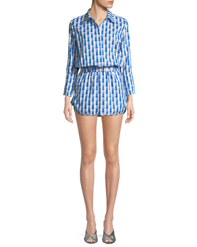Perri Gingham-Print Long-Sleeve Romper
