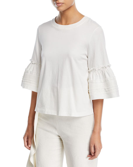 Selda Crewneck Bell-Sleeve Cotton Top