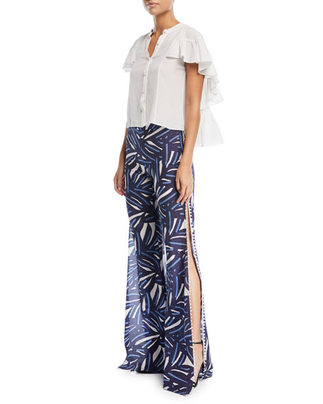 Levine Slit-Side Wide-Leg Printed Cotton Pants