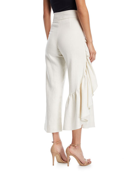 Lainey Wide-Leg Linen Pants with Ruffled Frill