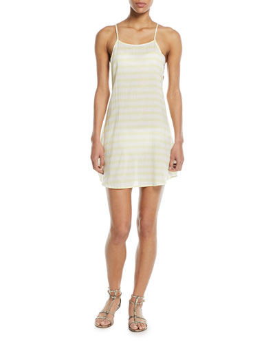 Sasha Open-Back Striped Mini Coverup Sun Dress
