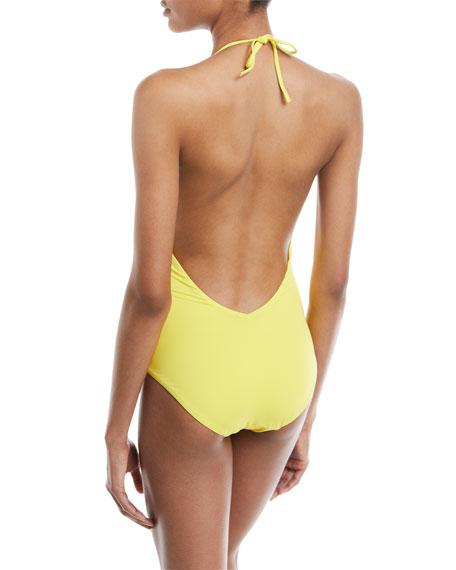 Nina Deep-V Halter Solid One-Piece Swimsuit