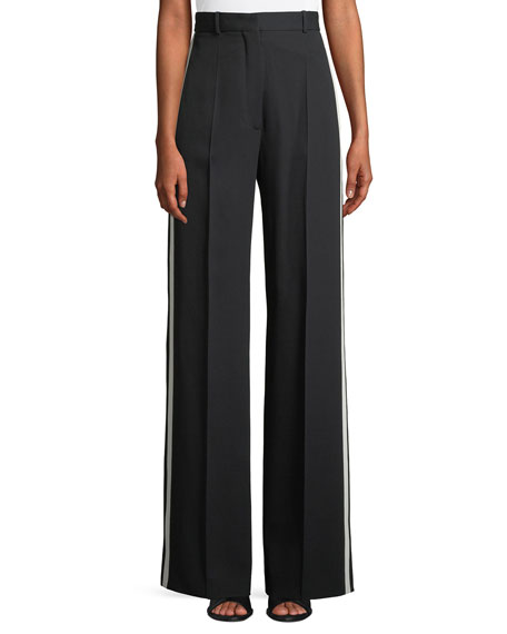 High-Waist Wide-Leg Pants w/ Side Stripes