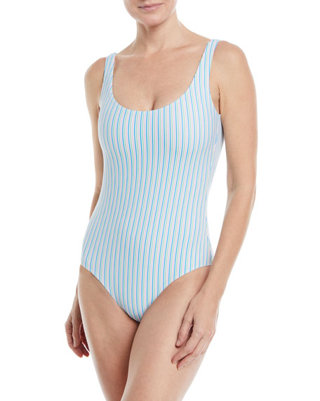 Kelly Striped One-Piece Low-Back Swimsuit