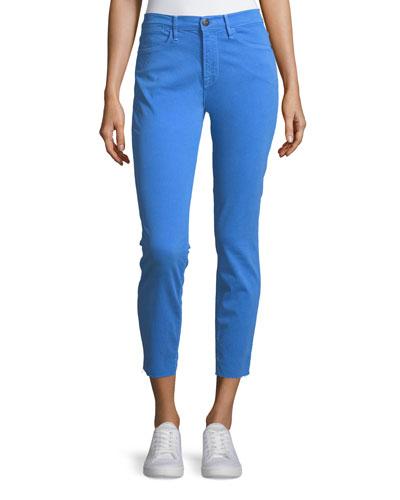 Le High Skinny-Leg Jeans w/ Raw-Edge Hem