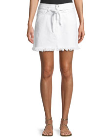Le High Belted Mini Skirt W/ Raw Edge by Frame