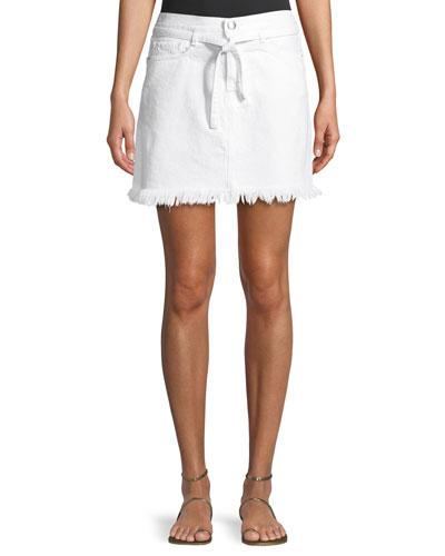 Le High Belted Mini Skirt w/ Raw-Edge