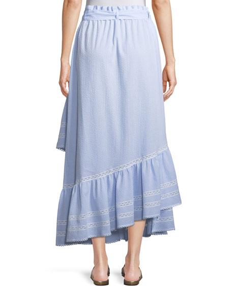 Long Striped Seersucker Ruffled Skirt