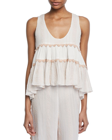 Embroidered Voile Tiered Tank