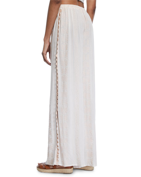 Embroidered Voile Side-Slit Coverup Pants