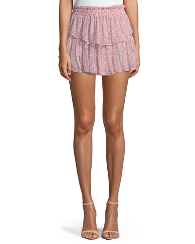 Tiered Ruffle Silk Mini Skirt