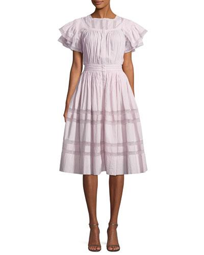 Callie Short-Sleeve Pintucked Ruffle Dress