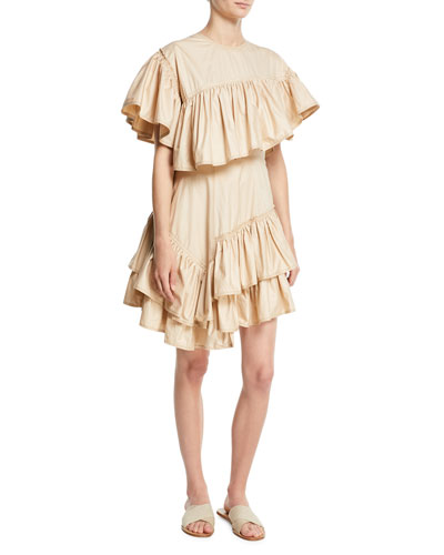 Asymmetric Ruffled Cotton Dress