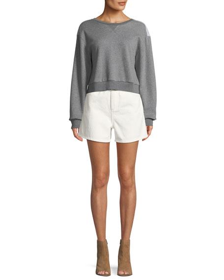 Belted Paper Bag Denim High-Waist Shorts