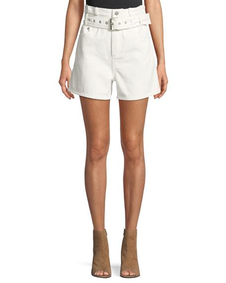 Belted Paper Bag Denim High Waist Shorts by 3.1 Phillip Lim