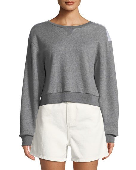 Cropped Cotton Sweatshirt w/ Tie Back