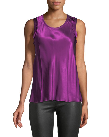 Helmut Lang Scoop-Neck Sleeveless Bias-Seam Satin Top