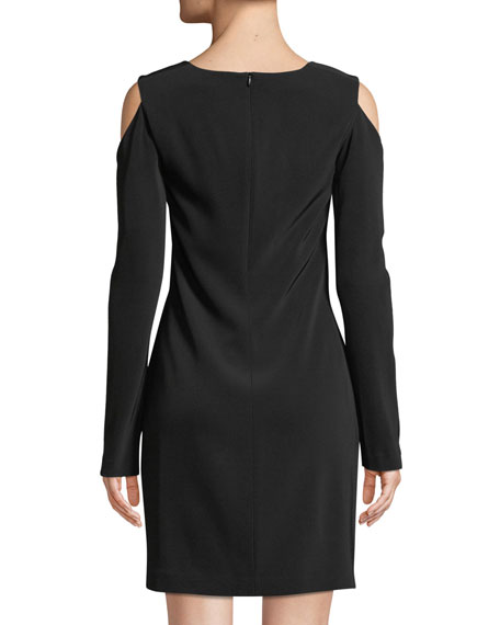 Long-Sleeve Cutout-Shoulder Dress