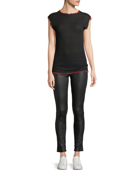 Crewneck Sleeveless Cashmere Knit Top with Frayed Edges