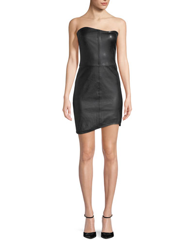 Strapless Fitted Leather Mini Cocktail Dress