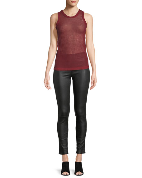 Sheer Jacquard Knit Shell Top